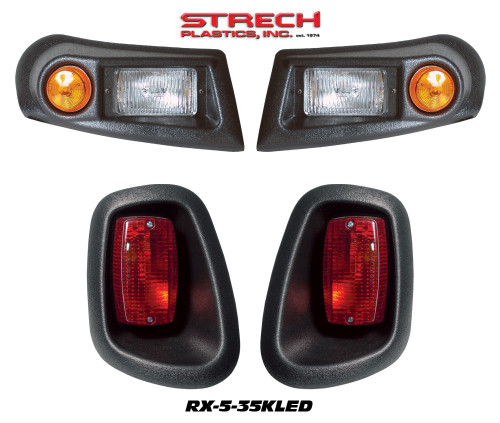 E-Z-GO RXV Headlights,LED Taillights & Wire Harness-Black