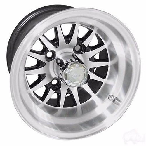 "Club Car Ds Golf Cart Wheels, Tires & Lift Combo Rims Black & Machined Phoenix 10"" Wheel DOT AT 22/11-10"