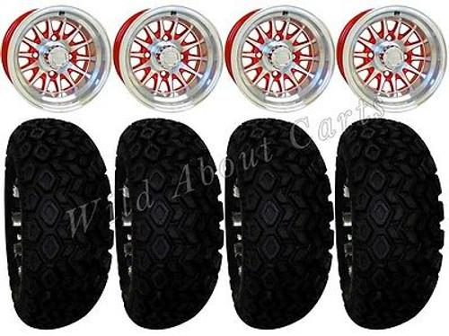 "Club Car Precedent Golf Cart Wheels,Tires & Lift Package Rims Red & Machined Phoenix 10"" Wheel"