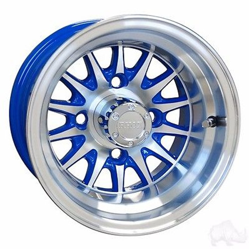 "Club Car Precedent Golf Cart Wheels, Tires & Lift Package Rims Blue & Machined Phoenix 10"" Wheel"