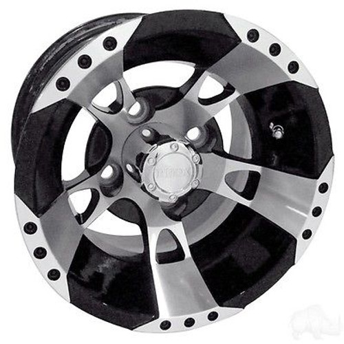 Club Car Precedent Golf Cart Wheels, Tires & Lift Package Rims RX190 Machined & Black 10""