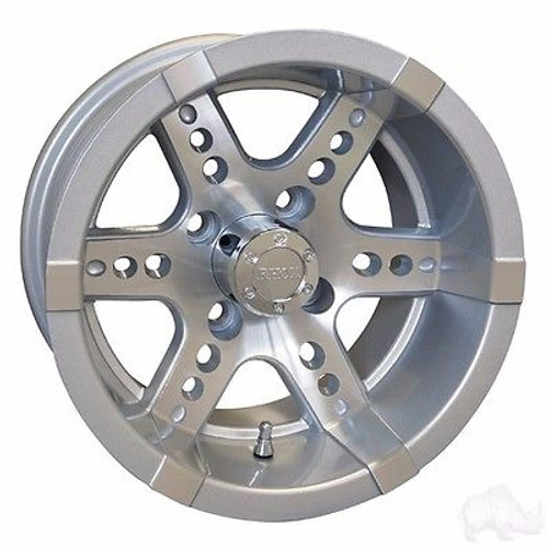 """Club Car DS Golf Cart Wheels, Tires & Lift Package Rims Machined, Silver 12"""""""