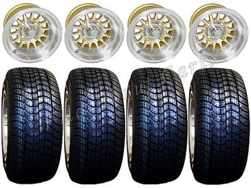 "Golf Cart Wheels & Tires Rims Machined & Gold 10"" Wheel Low Pro DOT 205/50-10"