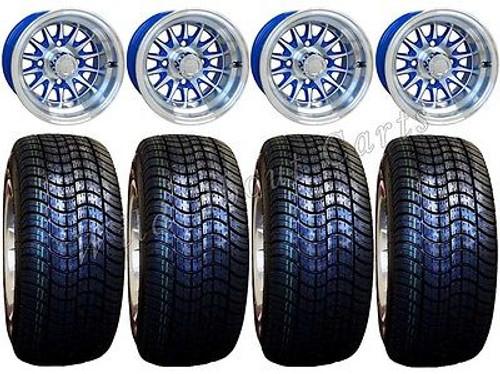"Golf Cart Wheels & Tires Rims Machined & Blue 10"" Wheel Low Pro DOT 205/50-10"