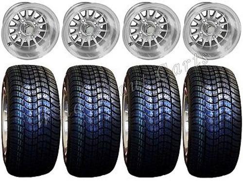"Golf Cart Wheels & Tires Rims Machined Phoenix 10"" Wheel Low Pro DOT 205/50-10"