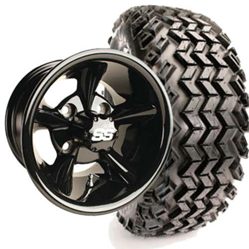 "Club Car DS Set of (4) 12"" Glossy Black Godfather Wheels & A/T Tires & Lift"