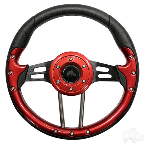 """Club Car Aviator 4 Red Steering Wheel 13"""" Diameter"""