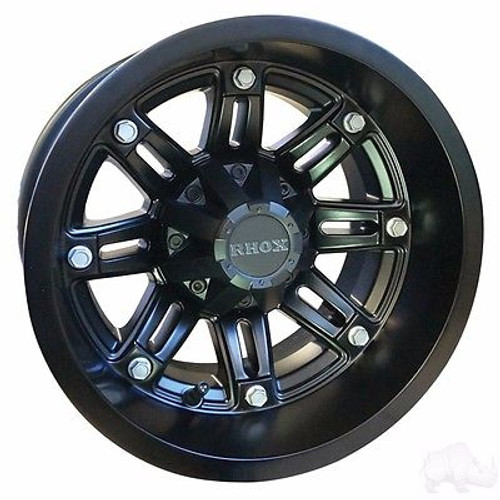 EZ GO TXT Golf Cart Wheels, Tires & Lift Package Rims RX290 Matte Black 12""