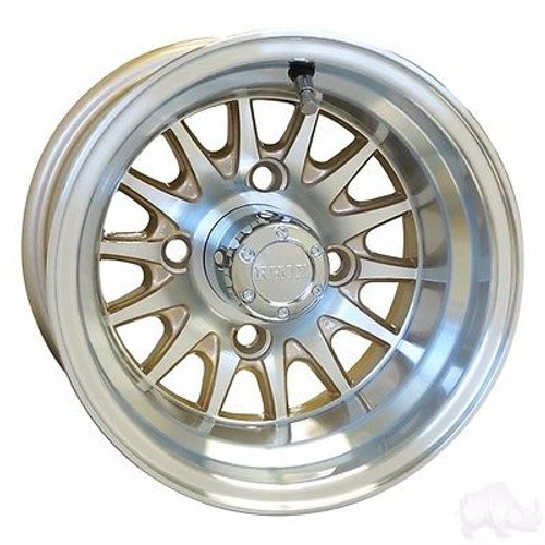 "EZ GO RXV Golf Cart Wheels, Tires & Lift Package Rims Pearl & Machined Phoenix 10"" Wheel"