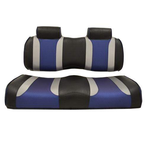 EZGO TXT/RXV Madjax Tsunami Black–Liquid Silver w/ Freestyle Wave Front Seat Cushions