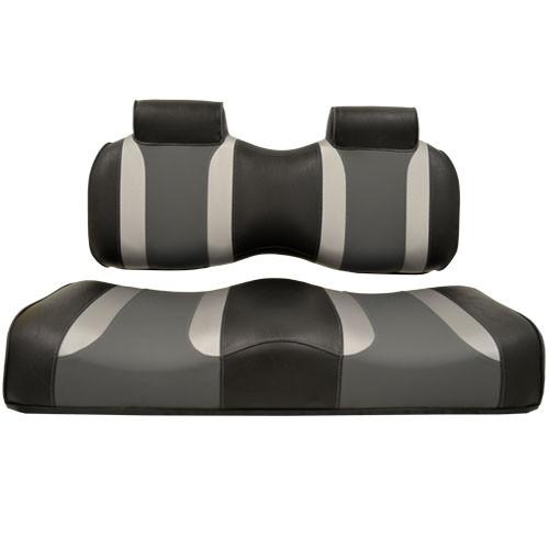 Madjax Tsunami Black‰ö_墉Û_Ìà嬉Û_Ìã̼Liquid Silver w/ Lagoon Gray EZGO TXT/RXV Front Seat Cushions