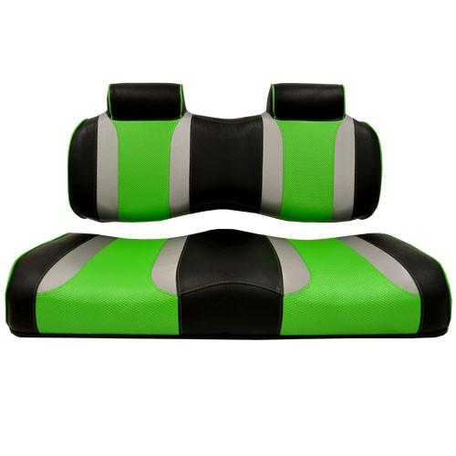 Madjax Tsunami Black‰ö_墉Û_Ìà嬉Û_Ìã̼Liquid Silver w/ Green Wave YAMAHA DRIVE Front Seat Cushions