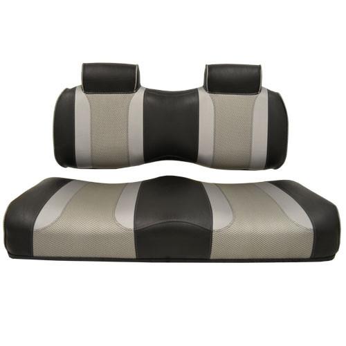 Madjax Tsunami Black‰ö_墉Û_Ìà嬉Û_Ìã̼Liquid Silver w/ Silver Rush EZGO TXT/RXV Front Seat Cushions