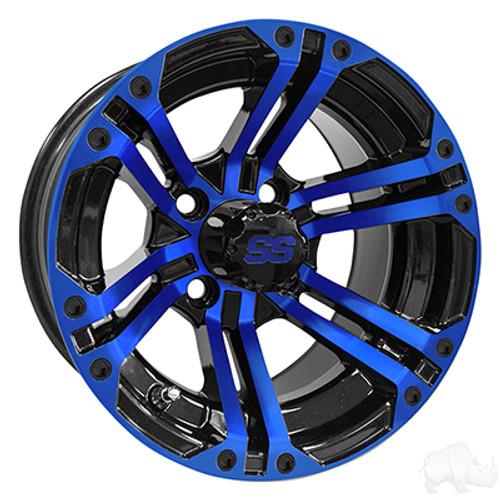 "12"" RHOX RX334 Black and Blue Wheel w/Center Cap, 12x7 ET-25"