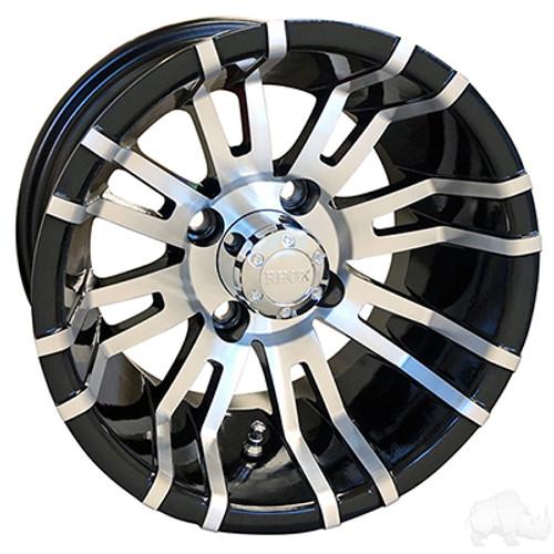 "12"" RHOX RX270, Machined w/ Black Wheel  w/ Center Cap, 12x7 ET-25"