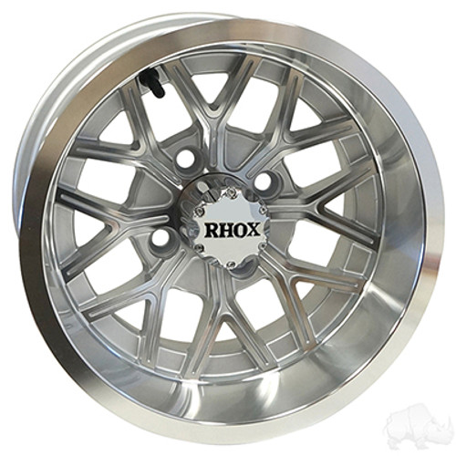 "12"" RHOX RX284, Machined Silver Wheel, 12x6 ET-10"