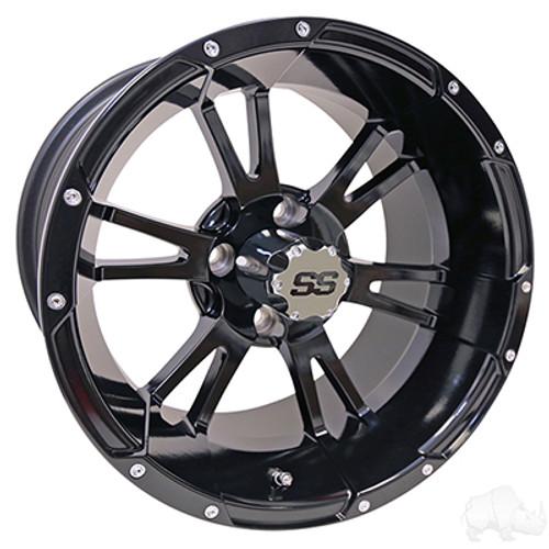 "14"" RHOX RX341, Black Wheel w/ Center Cap, 14x7 ET-25"