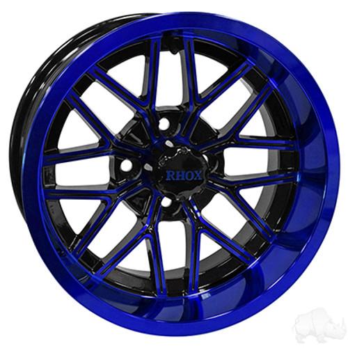 "14"" RHOX RX281, Gloss Black with Blue Wheel, 14x7 ET-25"
