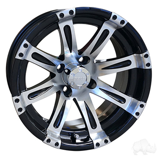 "14""RHOX Vegas, Machined w/Black Wheel w/ Center Cap, 14x7 ET-25"