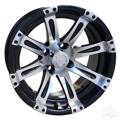 "14""RHOX Vegas, Machined w/Black Wheel w/ Center Cap, 14x7 ET-25"