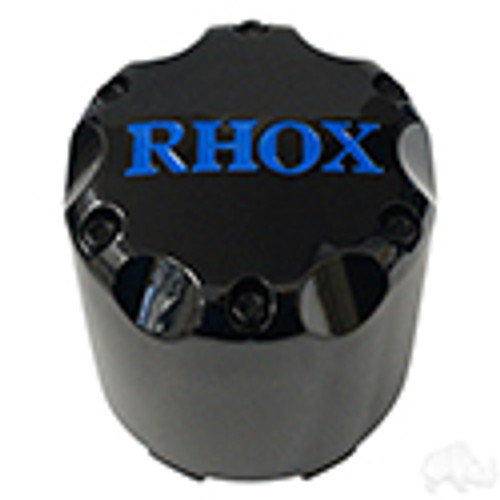 RHOX Snap-In Center Cap, Black with Blue-Set of 4