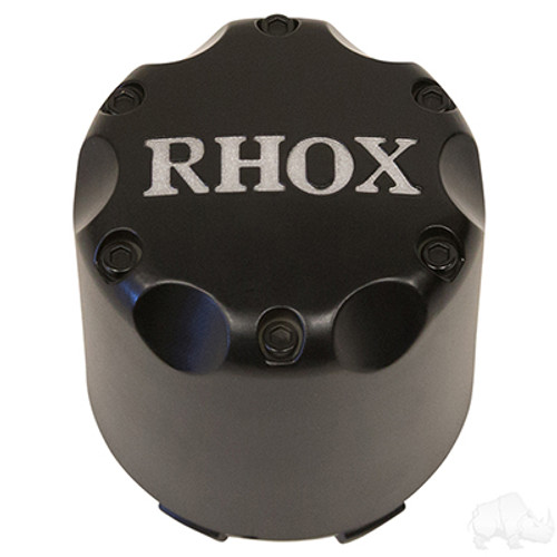 RHOX Snap-In Center Cap Matte Black with Silver-Set of 4