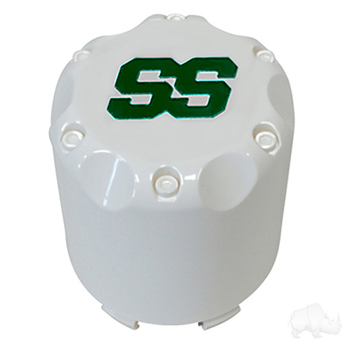 White with Green SS, Snap-In Center Caps-Set of 4