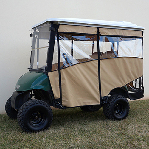 """Odyssey Enclosure in Beige for carts w/RHOX 88"""" Top, fits E-Z-Go RXV w/ rear seat"""