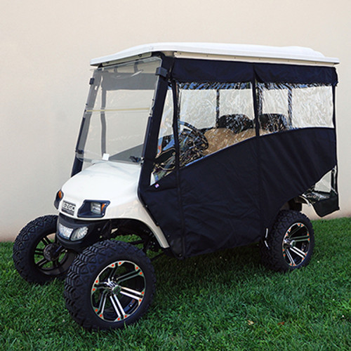 """Odyssey Enclosure in Black for carts w/RHOX 88"""" Top, fits E-Z-Go TXT 2014+ w/ rear seat"""