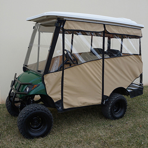 """Odyssey Enclosure in Beige for carts w/RHOX 88"""" Top, fits Yamaha Drive w/ rear seat"""