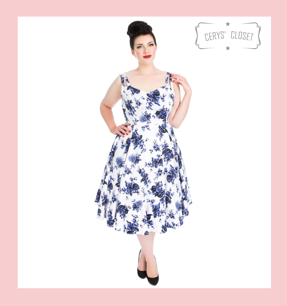 Blue and White Floral 50s Vintage Inspired Sleeveless Swing Dress with Sweetheart Neckline - Rosecae