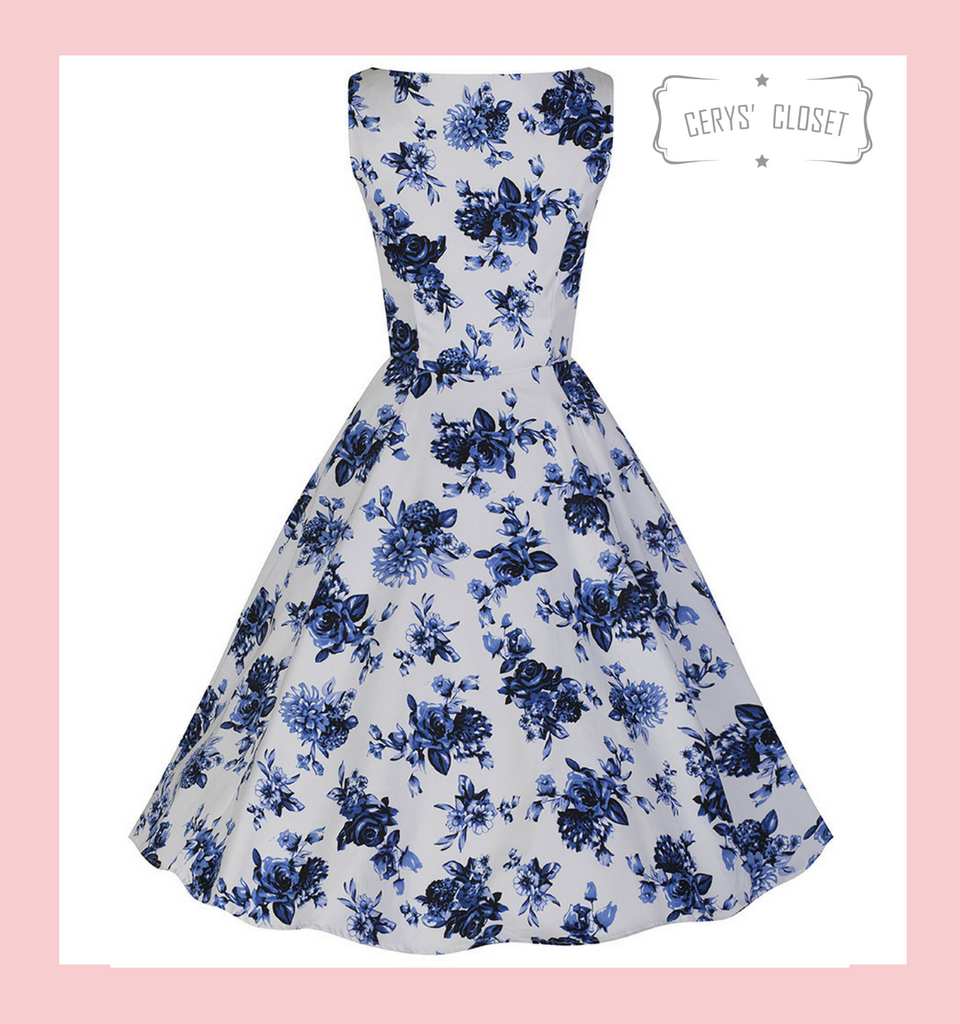 Hearts and Roses London Blue and White Floral 50s Vintage Inspired Sleeveless Swing Dress with Sweetheart Neckline at Cerys' Closet
