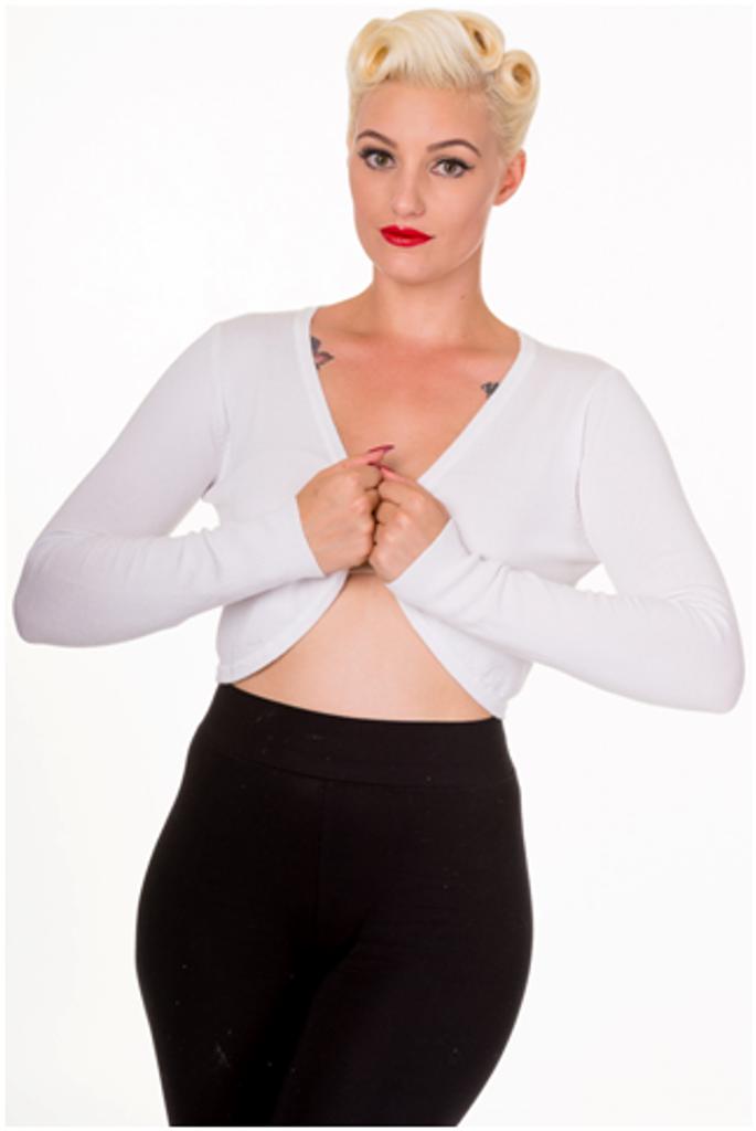 50s Vintage Inspired Long Sleeve Soft Touch Bolero - White