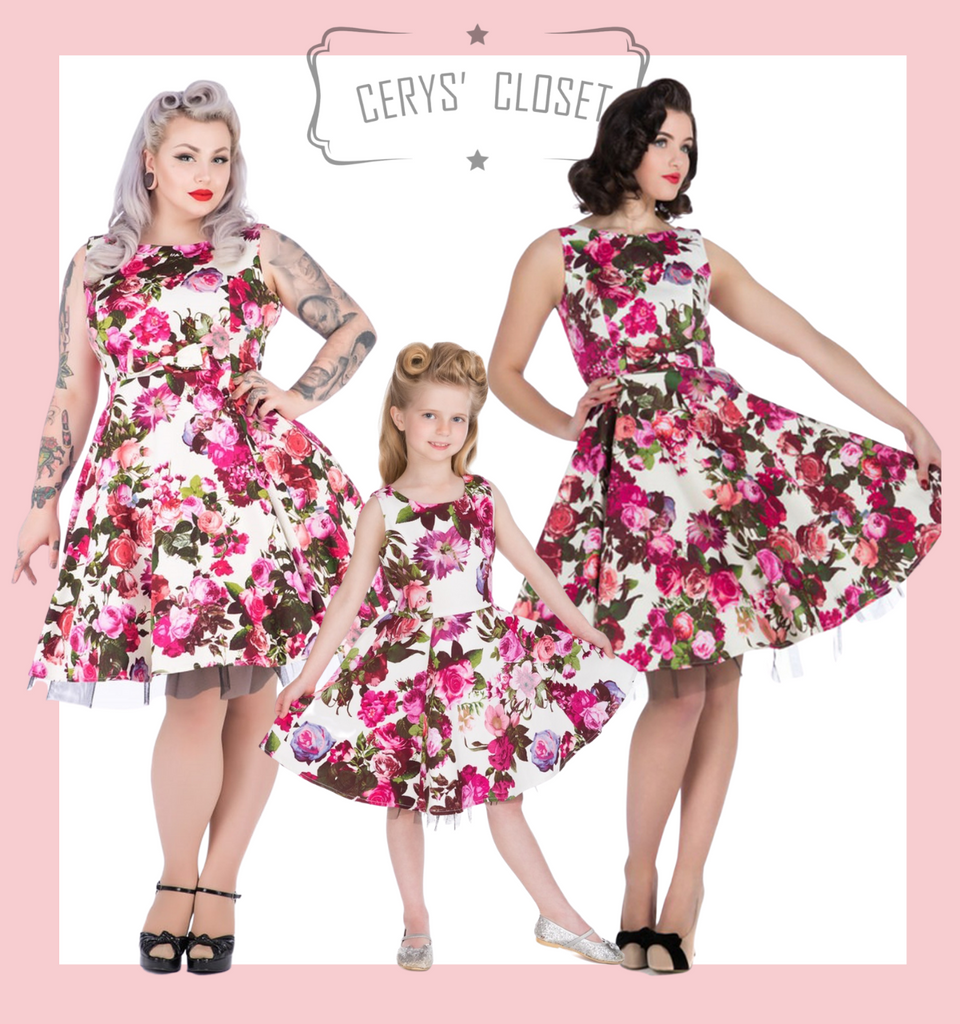 Hearts and Roses london childrens dresses  PRETTY PINK AND PURPLE ROSE FLORAL 50S VINTAGE INSPIRED SWING DRESS - ROSIE KIDS