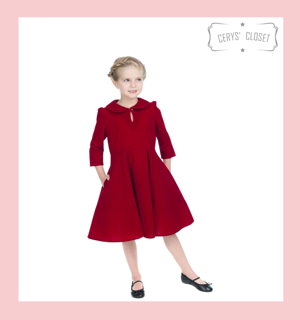 VELVET 3/4 SLEEVE 50S VINTAGE INSPIRED TEA DRESS WITH CUTE COLLAR AND POCKETS - RED KIDS