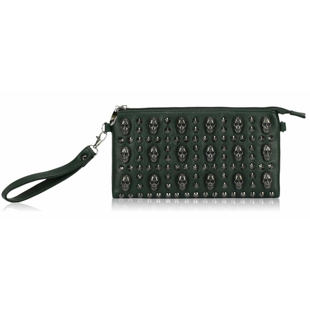 Studded Clutch Bag with Skull Embellishments - Green