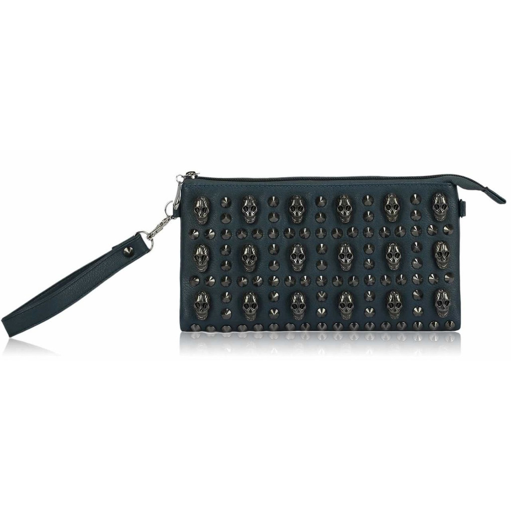 Studded Clutch Bag with Skull Embellishments - Teal
