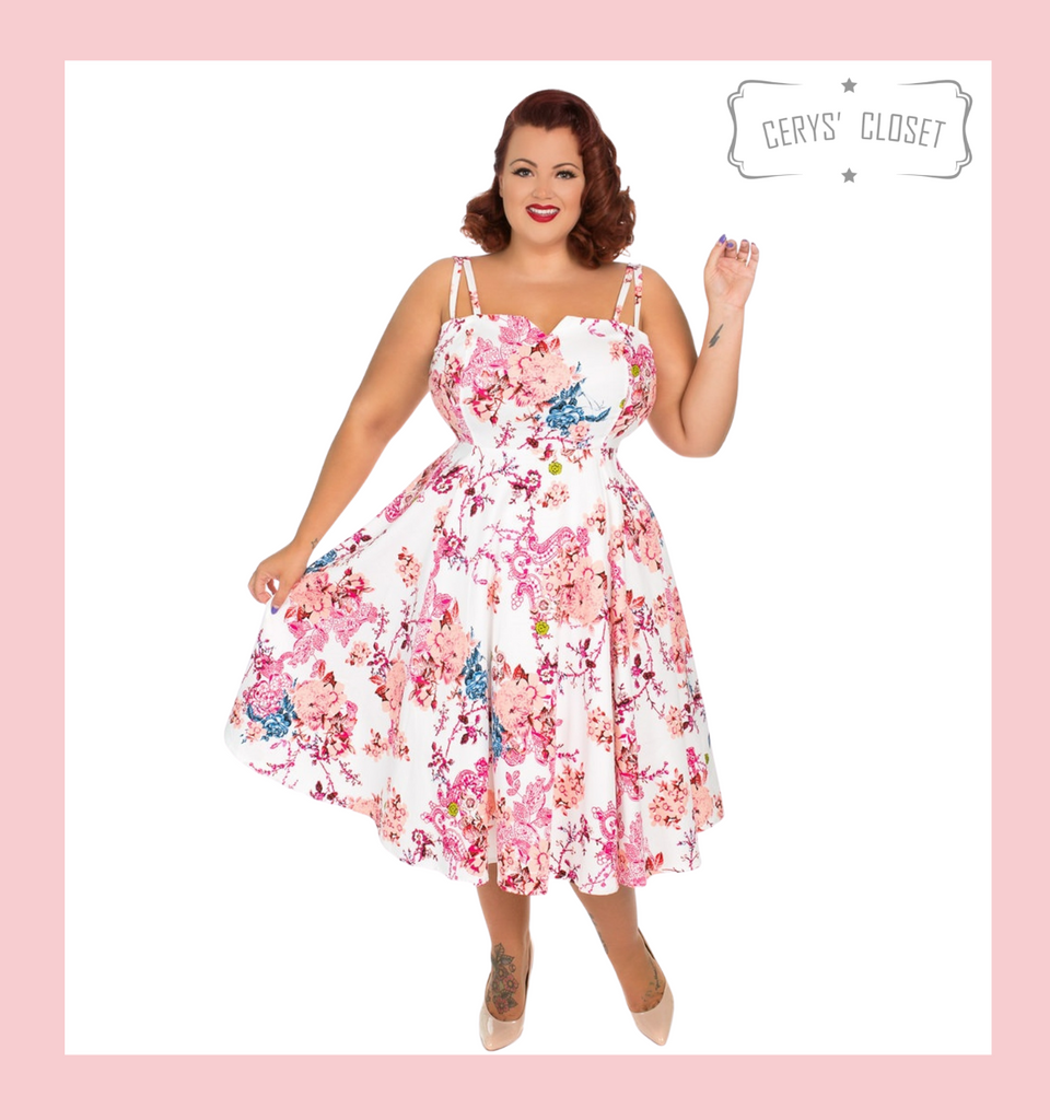 Hearts and Roses London Pink Peach and White Floral 50s Vintage Inspired Sleeveless Swing Dress at Cerys' Closet
