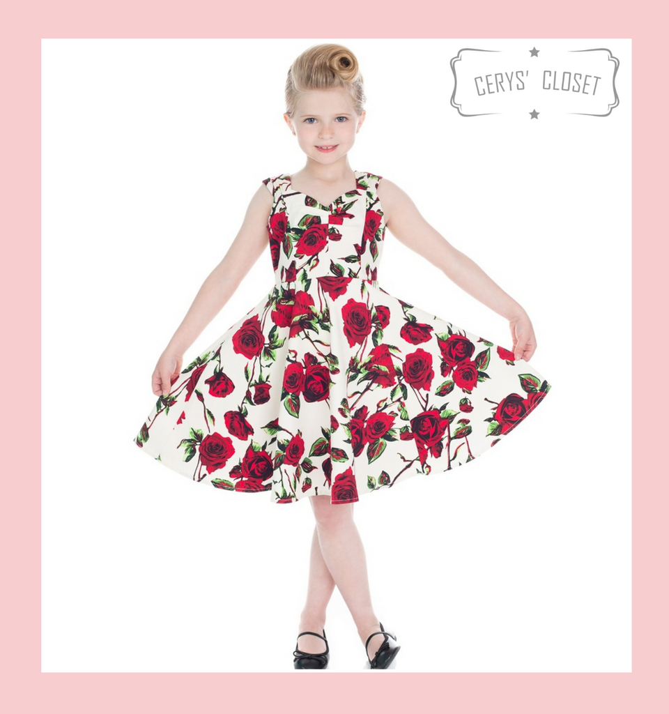 Hearts and Roses London CREAM AND RED ROSES FLORAL 50S CHILDRENS VINTAGE INSPIRED SWING DRESS WITH SWEETHEART NECKLINE - THORN at Cerys' Closet