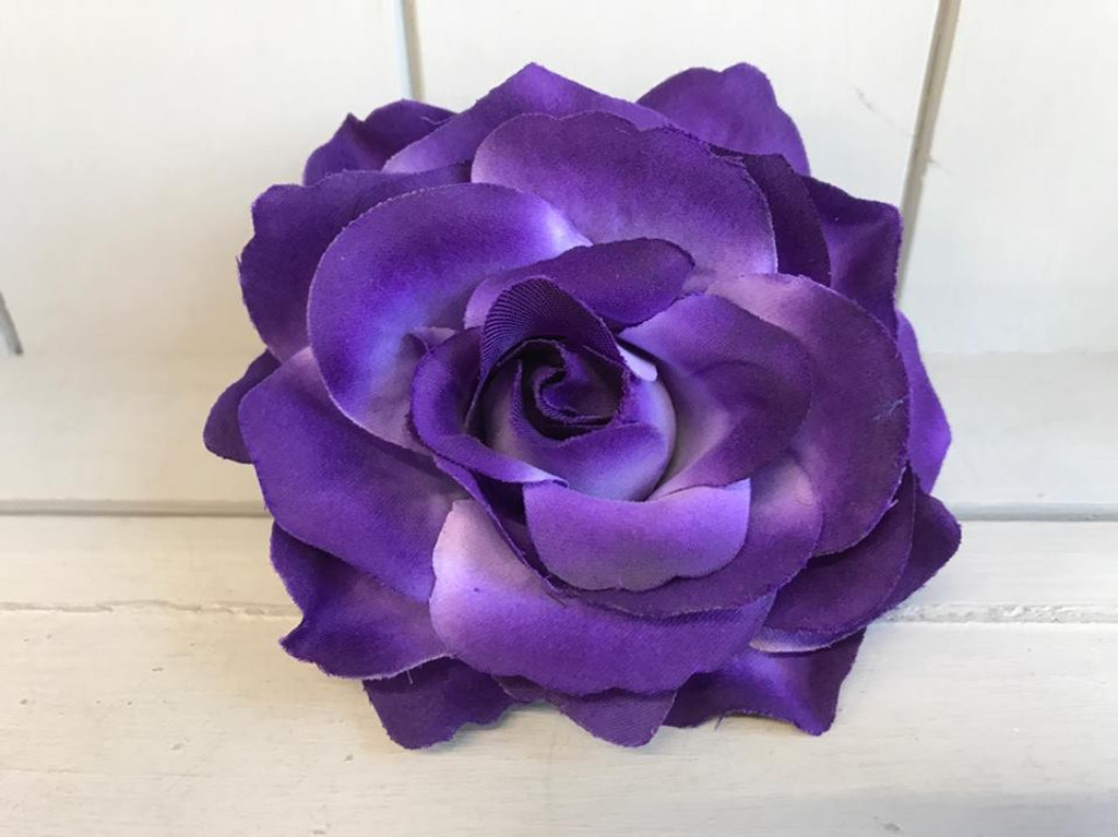 Pin Up Hair Roses with Brooch Attachment - Dark Purple