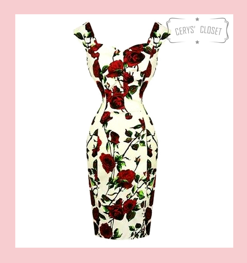 Hearts and Roses London Cream and Red Roses Floral 50s Vintage Inspired Wiggle Dress with Sweetheart Neckline - Thorn at Cerys' Closet