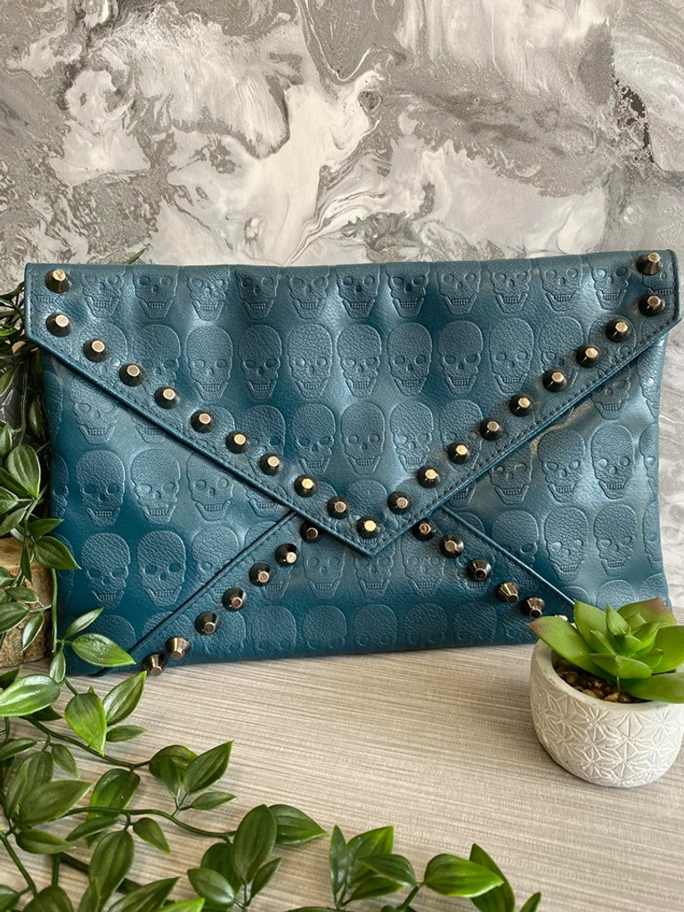 Skull Embossed and Studded Envelope Clutch Bag - Teal