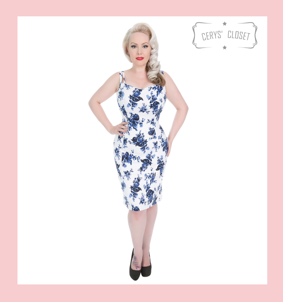 Hearts and Roses London Blue and White Floral 50s Vintage Inspired Rockabilly Wiggle Dress