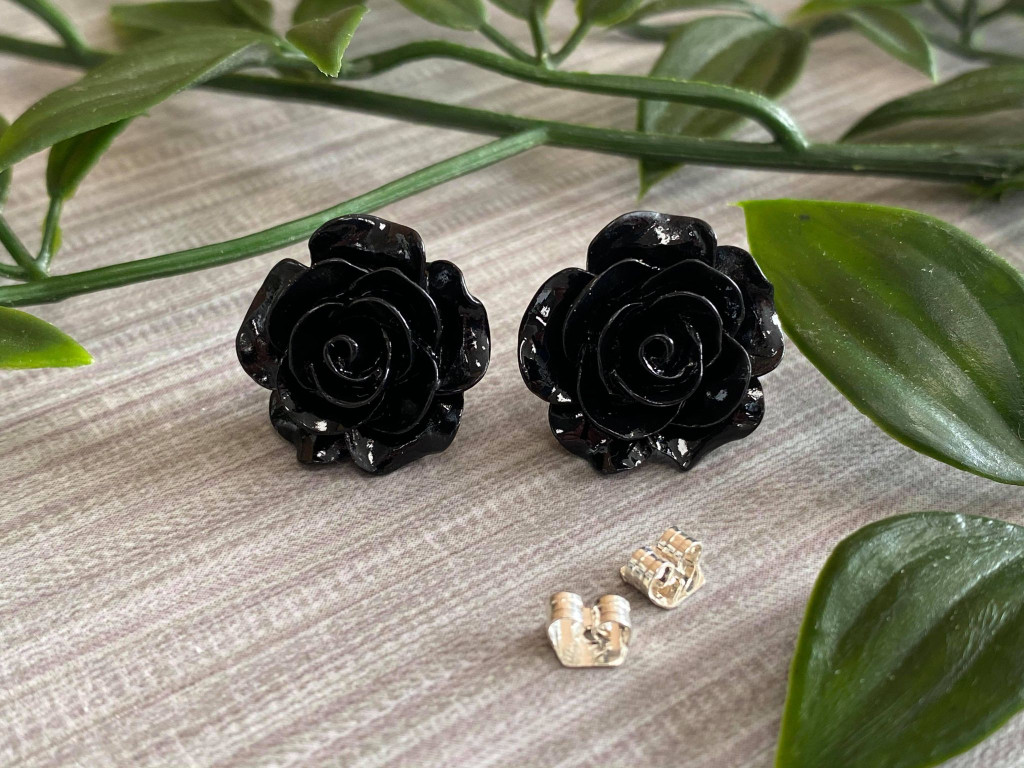 Handmade By Sue Resin Rose Earrings with Stainless Steel Post Studs - Black