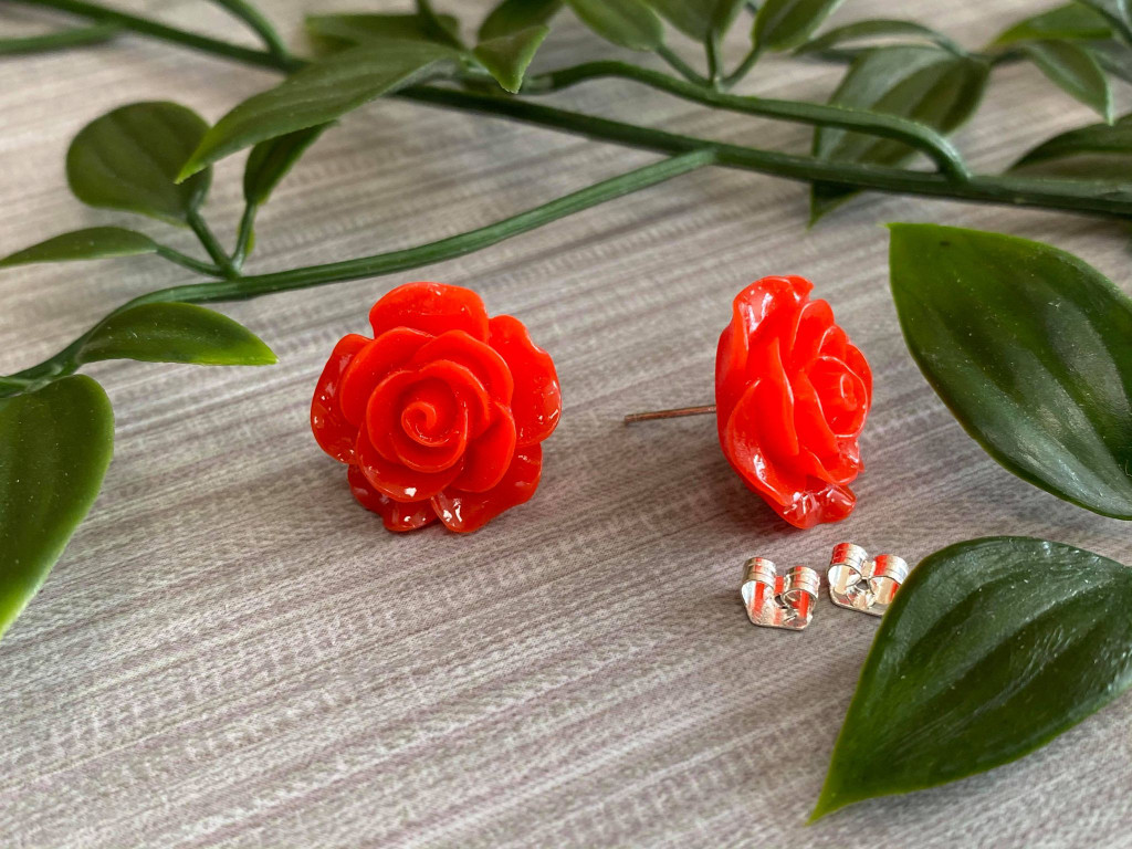 Handmade By Sue Resin Rose Earrings with Stainless Steel Post Studs - Red