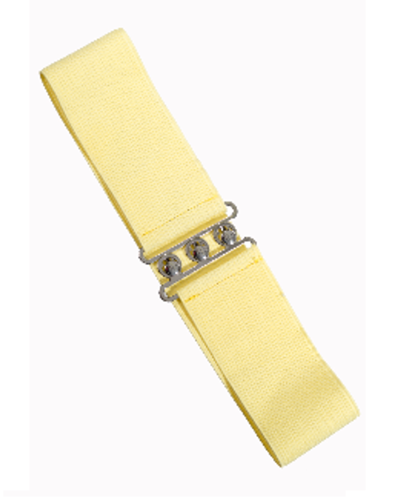 50S VINTAGE INSPIRED ELASTICATED WASPIE BELT LEMON YELLOW BANNED APPAREL AT CERYS' CLOSET
