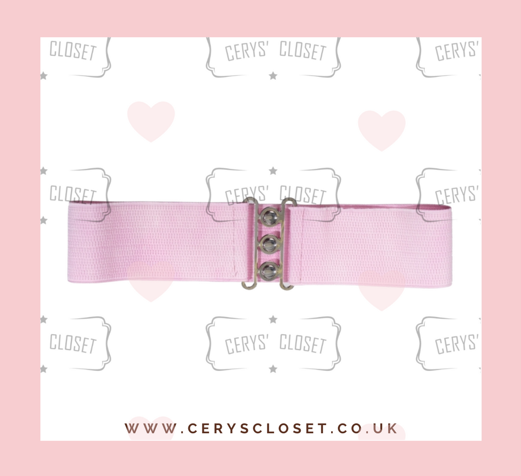 50S VINTAGE INSPIRED ELASTICATED WASPIE BELT Pale baby pink, Banned Apparel at Cerys' Closet