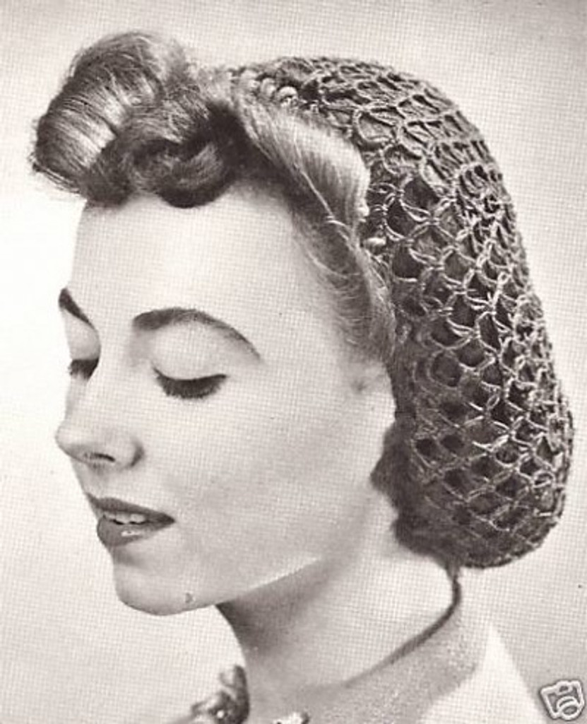 1940s Crochet Hair Snood Hair Net - Black