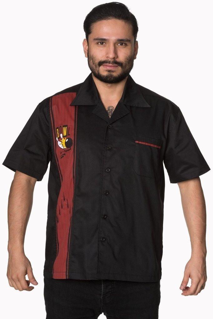 SALE Mens Short Sleeve Black Shirt Bowling Logo