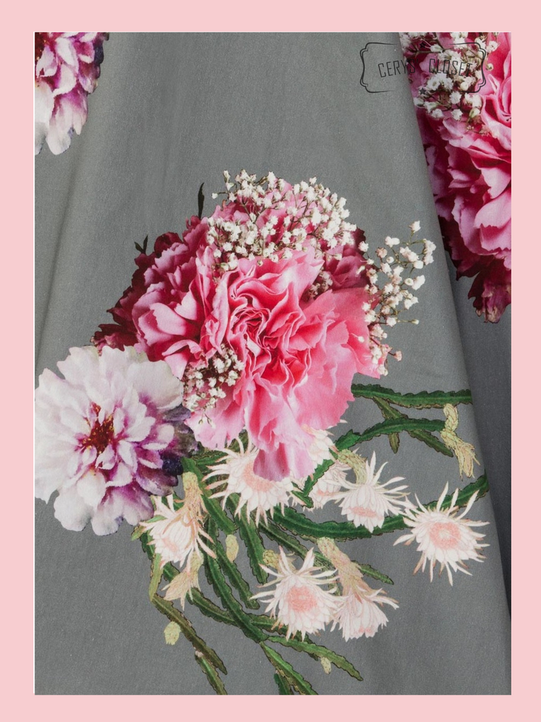 Hearts and Roses London Green and Pink Floral Fluted Sleeve 50s Vintage Inspired Swing Dress - Alisha at Cerys' Closet